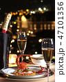 ディナー おしゃれ イルミネーション シャンパン グラス 食事 伊勢海老 フランス料理 夜景  47101356