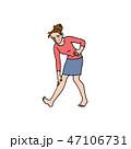 白バック 喜ぶ 女性のイラスト 47106731