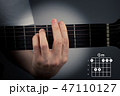 Guitar chord on a dark background. G Minor Chord. Gm tab fingering 47110127