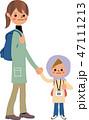 避難する母子 47111213