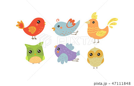 Flat vector set of colorful little birds. Lovely creatures with small wings. Fauna theme 47111848