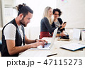 Group of young businesspeople with laptop working in a modern office. 47115273