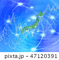 日本列島の白地図と株式投資 47120391