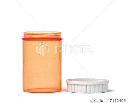 3d rendering of a transparent orange plastic jar with a white lid beside on a white background. 47122406