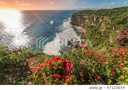 View of Uluwatu cliff with coast and blue ocean in Bali, Indonesia 47123054
