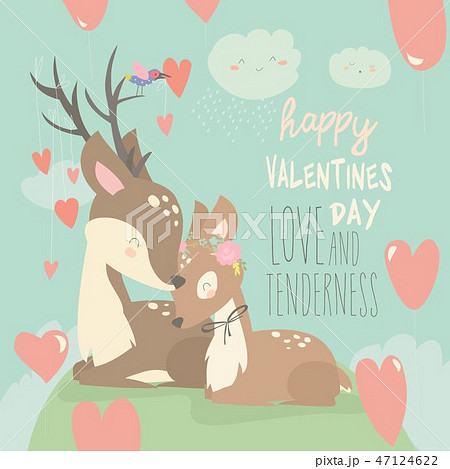 Cartoon deer couple with hearts balloons. Happy valentines day 47124622