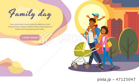 Family Day Out Cartoon Vector Landing Page 47125047
