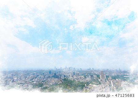 東京の風景 水彩画風 47125683