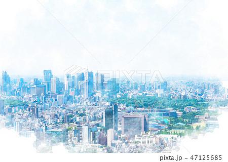 東京の風景 水彩画風 47125685