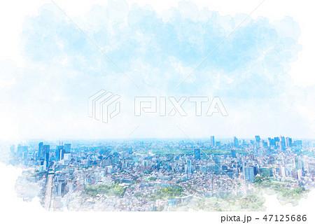 東京の風景 水彩画風 47125686
