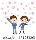 桜 入学 男女のイラスト 47125893