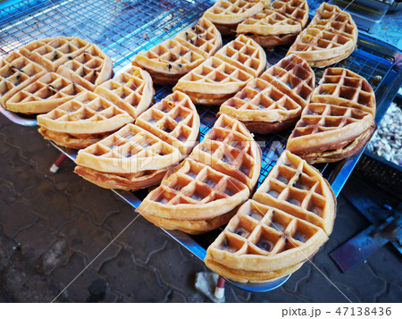 delicious waffle sold in Thai street market. 47138436