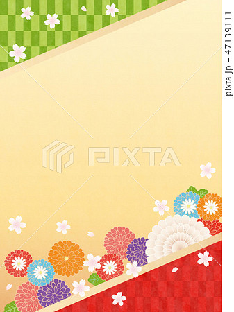 和風背景(たて)-菊,さくら2テク 47139111