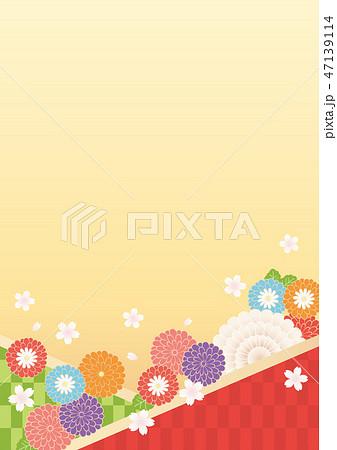 和風背景(たて)-菊,さくら4 47139114