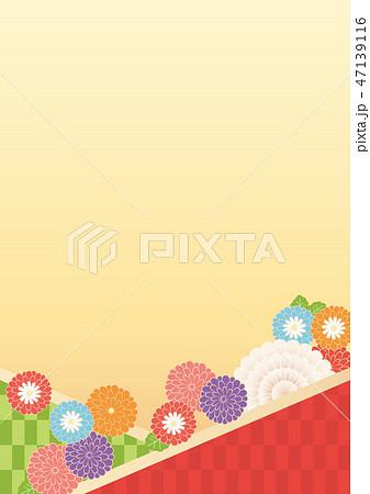 和風背景(たて)-菊 47139116