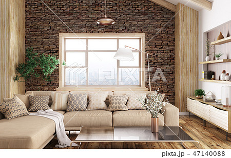 Interior of modern living room 3d rendering 47140088