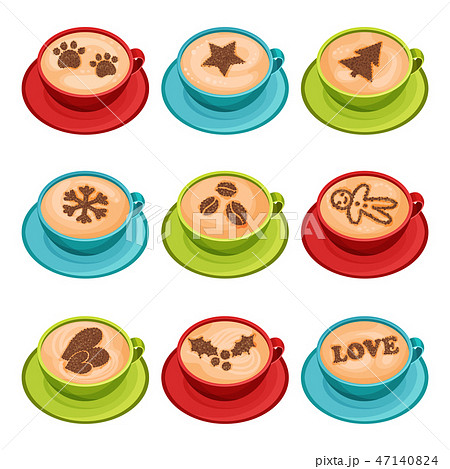 Flat vector set of mugs of hot coffee with latte art of cinnamon powder, top view. Cups of fresh 47140824
