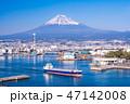 (静岡県)田子の浦港を出る大型船舶と富士山 47142008