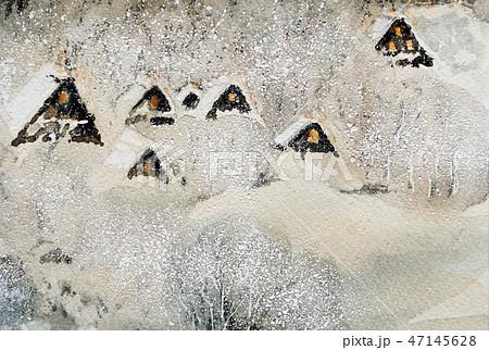 雪の白川郷 白川郷 手書き スケッチ 美しい 47145628