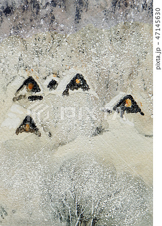 雪の白川郷 白川郷 手書き スケッチ 美しい 47145630