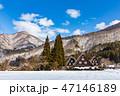 冬 白川郷 合掌造りの写真 47146189