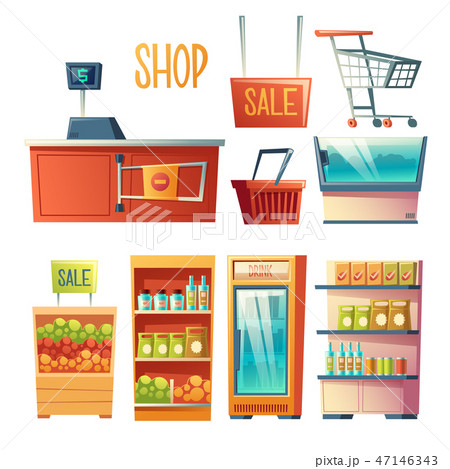 Supermarket interior design element vector set 47146343