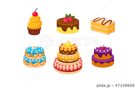 Collection of cakes set, confection desserts, piece of various delicious cakes vector Illustration 47149608