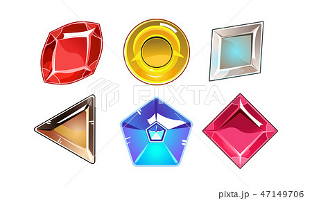 Vector set of 6 glossy stones of different shapes. Bright gemstones. Elements for online mobile game 47149706
