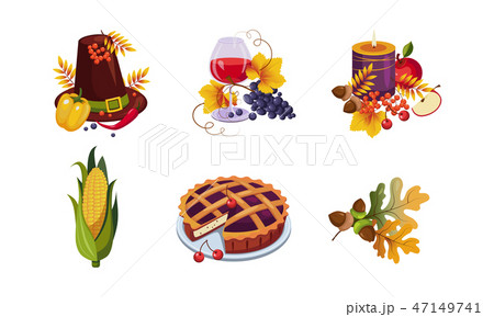 Collection of Thanksgiving day holiday traditional elements, autumn symbols, vector Illustration 47149741