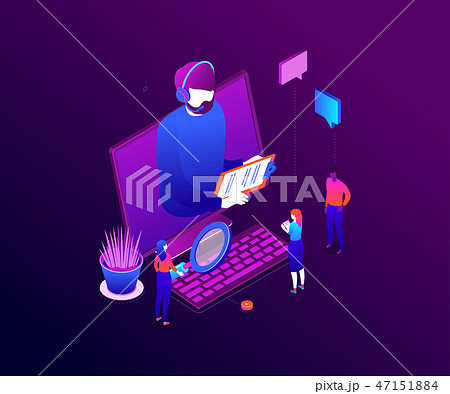 Technical support - modern colorful isometric vector illustration 47151884