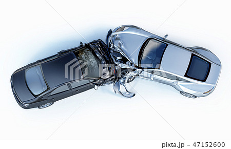 Two cars crashed in accident. Viewed from the top. 47152600