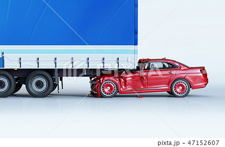 A car and a truck crashed in accident. Side view. 47152607