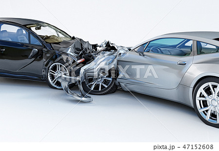 Two cars crashed in accident. Side close up view. 47152608
