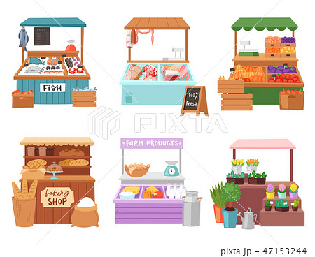 Food market vector salesman seller character selling in bookshop butcher or baker in stall 47153244