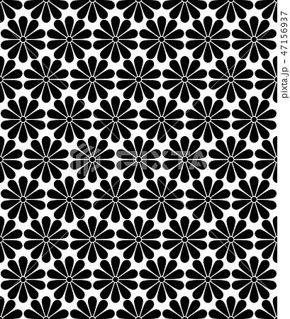 Japanese Kiku Chrysanthemum floral vector seamless pattern. 47156937