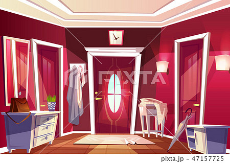 Hallway corridor room interior illustration 47157725