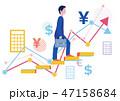 派遣社員と正社員の給料グラフとステップアップ-フラットデザインコンセプトイラスト 47158684
