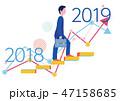 2018年から2019年のステップアップグラフとビジネスマン-フラットデザインコンセプトイラスト 47158685