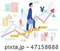 経営者ビジネスマンのステップアップとグラフ-フラットデザインコンセプトイラスト 47158688
