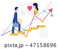 派遣社員の恋愛結婚とステップアップとグラフ-フラットデザインコンセプトイラスト 47158696