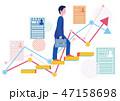派遣社員の履歴書とステップアップグラフ-フラットデザインコンセプトイラスト 47158698