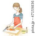 料理 女性 包丁のイラスト 47159836