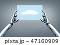 robot hands with concept car on tablet pc screen 47160909