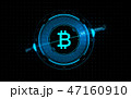 gold bitcoin projection over black background 47160910
