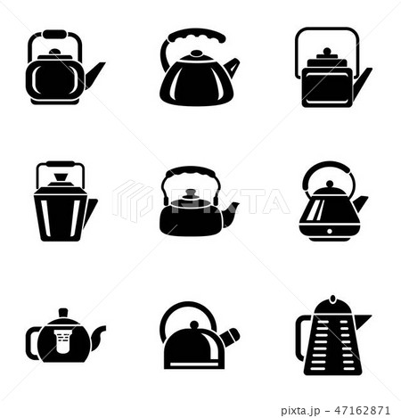 Cast iron kettle icons set, simple style 47162871