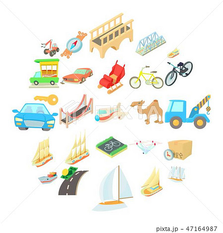 Water carriage icons set, isometric style 47164987