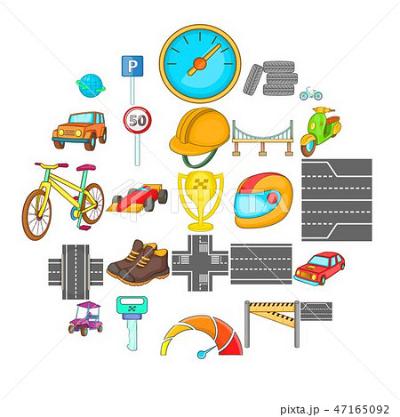 Great road icons set, isometric style 47165092