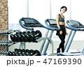 フィットネス スポーツジム トレーニング ミドル 女性 エクササイズ 47169390