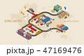 流通 物流 貨物自動車のイラスト 47169476