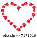 ハート型の薔薇 フレーム 赤色 47171019